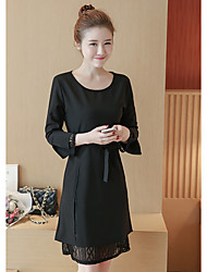 Sign spring new Korean dress long section was thin lace crocheted hollow long-sleeved shirt Slim