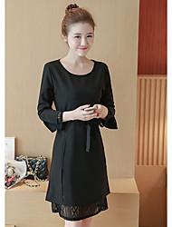 Sinal primavera nova coreano vestido seção longa foi fino laço crocheted oca camisa de mangas compridas slim