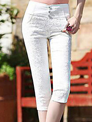 Women's Plus Size Skinny Chinos Pants,Casual/Daily Simple Solid Lace High Rise Elasticity Cotton Stretchy Summer