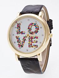 cheap -Women's The New Bright Golden Watch Case Flowers LOVE Diamond Dial Face Geneva Quartz Watch