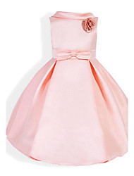 cheap -Girl's Daily Holiday School Solid Print Dress,Cotton Spring Summer Sleeveless Bow Blushing Pink