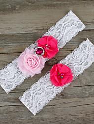 cheap -Chiffon Lace Satin Fashion Wedding Garter with Beading Lace Flower Garters