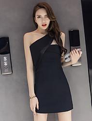 vraiment faire 2017 été nouvelle robe dos nu sexy mince était oblique mince robe noire