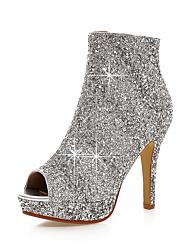 preiswerte -Damen Schuhe Kunststoff Sommer Herbst Club-Schuhe Stiefel Stöckelabsatz Peep Toe Paillette Reißverschluss für Büro & Karriere Kleid Party