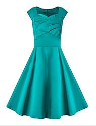 baratos -Mulheres Chique & Moderno Rodado Vestido - Estilo Moderno, Sólido Altura dos Joelhos