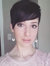 Недорогие -Парик упругости волос человеческих волос парик шикарный короткий слоистый прямой черный без шапки для женщин 2017