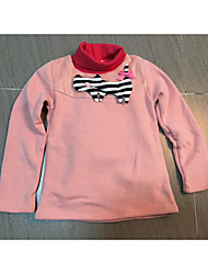 Girl's Han Edition Fashion Leisure Winter High Collar With Velvet Thickening Cartoon Cat Render Unlined Upper Garment