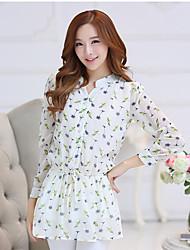 assinar 2017 Primavera versão coreana do novo terno de mangas compridas camisa de chiffon grandes estaleiros longa seção de camisa