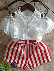 cheap -Girls' Daily Striped Patchwork Clothing Set,Rayon Summer Short Sleeve Stripes Lace Bow White