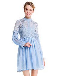 SUOQI Fashion Wild Long Sleeves Stand Up Lace Short Skirt Party Cocktail Holiday Dating Dresses