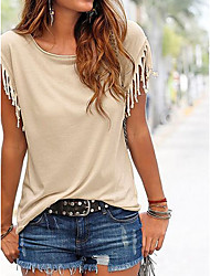 cheap -Women's Cute Butterfly Sleeve Cotton T-shirt - Solid Colored, Tassel