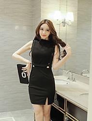 signe été nouveau tempérament sexy coréen coutures ajourées ol paquet mince robe de la hanche fendue femme