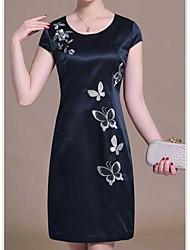 Women's Dailywear Classic & Timeless A Line Dress,Art Deco Round Neck Above Knee, Mini Short Sleeves N/A Summer High Rise Inelastic Medium