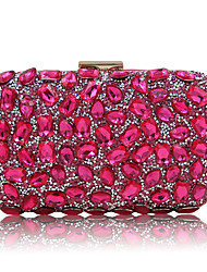cheap -Women's Bags Polyester Evening Bag Sequin / Crystal / Rhinestone Black / Silver / Fuchsia