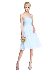 cheap -A-Line Sweetheart Neckline Knee Length Chiffon Bridesmaid Dress with Criss Cross / Ruched by LAN TING BRIDE®