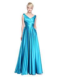 cheap -A-Line V Neck Floor Length Satin Bridesmaid Dress with Criss Cross / Pleats / Pocket by LAN TING BRIDE® / Beautiful Back