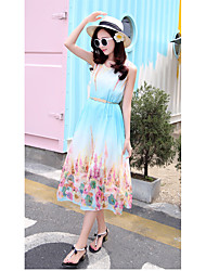 Sign summer sleeveless long section of large size printed chiffon belt put on a large dress belt sold separately