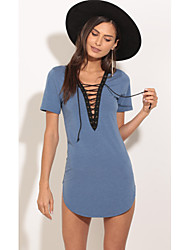 Europa 2017 novo aliexpress ebay que vende la amarra profundamente v camisa short-sleeved e seções longas