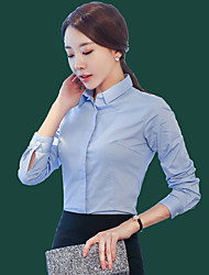 cheap -Women's Formal Classic & Timeless Spring Fall Shirt,Solid Color Shirt Collar Long Sleeves N/A Medium