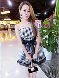 2016 summer new plaid dress sexy Bra Korean Slim waist tutu dress