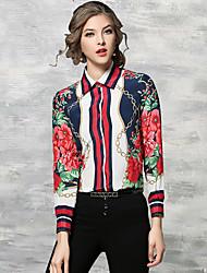 cheap -Women's Work Chinoiserie Cotton Shirt - Floral Print Shirt Collar / Spring / Summer