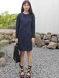 Korean chic style round neck long-sleeved dress with large pockets large spot