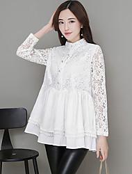 Camicia Da donna Da giorno Festa di fine anno scolastico Scuola Appuntamento Sensuale Romantico Estate,Tinta unica Colletto alla coreana