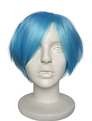 Cosplay Wigs Blue Synthetic Fiber Capless Wig Short With Bangs For Cosplay