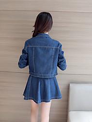 Sign cowboy suit 2017 spring new patch denim shirt jacket denim skirt +