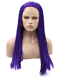 cheap -Braided Synthetic Lace Front Wigs Blue Color Hair Heat Resistant Synthetic Fiber Hair Lace Wig