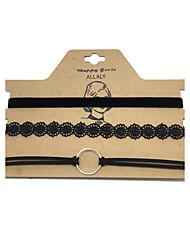 Недорогие -Жен. Ожерелья-бархатки - Кожа В виде подвески, Мода, Euramerican Черный Ожерелье Бижутерия 3шт Назначение Бизнес, Повседневные, на открытом воздухе