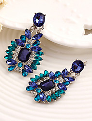 cheap -Women's Drop Earrings Rhinestone Floral Dangling Style Alloy Flower Jewelry Wedding Party
