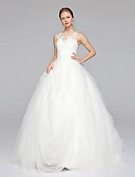 Ballkleid Illusionsausschnitt Pinsel Schleppe Spitze Tüll Hochzeitskleid mit Applikationen durch LAN TING BRIDE®