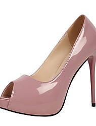 Mulheres Sapatos Couro Ecológico Primavera Verão Plataforma Básica Conforto Saltos Plataforma Dedo Aberto Peep Toe para Escritório e