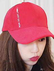 Unisex Autumn Winter Letters Embroidery Corduroy Baseball Cap Couple Sun Visor Hat