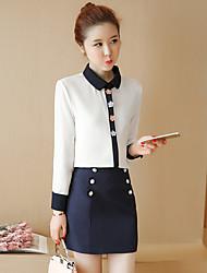 printemps et automne nouvelle robe de mode jupe hanche blouse en mousseline de soie + forfait de deux pièces de femmes petit costume de