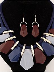abordables -Mujer Ópalo / Opal sintético Conjunto de joyas - Resina Lujo, Europeo, Euramerican Incluir Collar / pendientes Café Oscuro / Arco Iris / Azul Para Fiesta / Diario / Casual / Pendientes / Collare