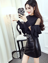 Sign Nett 2017 spring new Korean fashion princess sleeve stitching T-shirt + PU leather skirt suit