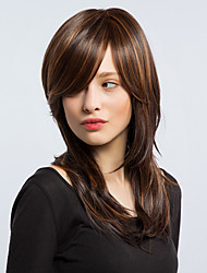 Women Synthetic Wig Capless Long Straight Brown Natural Wig Costume Wigs