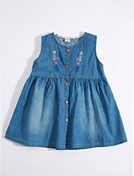 cheap -Girl's Daily Solid Dress, Cotton Linen Summer Sleeveless Floral Blue