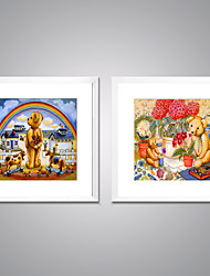 Framed Canvas Print Abstract Cartoon Modern Realism,Two Panels Canvas Square Print Wall Decor For Home Decoration