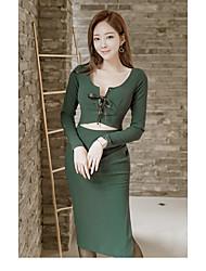 2017 automne et hiver version coréenne des nouvelles femmes cultivant à manches longues robe ronde couture jupe fendue fil vide