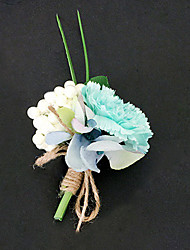 cheap -Wedding Flowers Free-form Peonies Boutonnieres Wedding Party/ Evening Light Blue / Sky Blue Satin