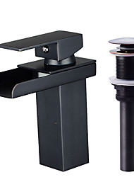 Contemporary Centerset Waterfall Ceramic Valve Single Handle One Hole Oil-rubbed Bronze , Bathroom Sink Faucet