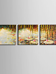 cheap -E-HOME Stretched Canvas Art Lotus Pond Autumn Decoration Painting Set Of 3