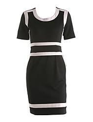 cheap -Women's Casual Sheath Dress - Color Block