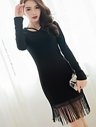 Women's Tassel The version of the little black dress waist temperament Slim thin long-sleeved dress fringed