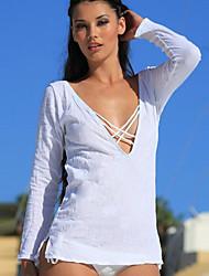 Tee-shirt Femme,Couleur unie Quotidien Lune de Miel Soirée Sexy Eté Manches Longues V Profond Coton Moyen