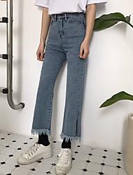 Реальный выстрел! Корейский ретро гонконгский аромат шикарный стиль бахромой брюки разделены девять прямо мыть джинсы!