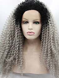 Ombre Afro Kinky Curly Gray Synthetic Lace Front Wigs Glueless Two Tone Natural Black/Silver Grey Heat Resistant Hair Women Wig